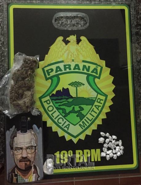 O rapaz confessou ser traficantes de drogas.(Foto:PM)