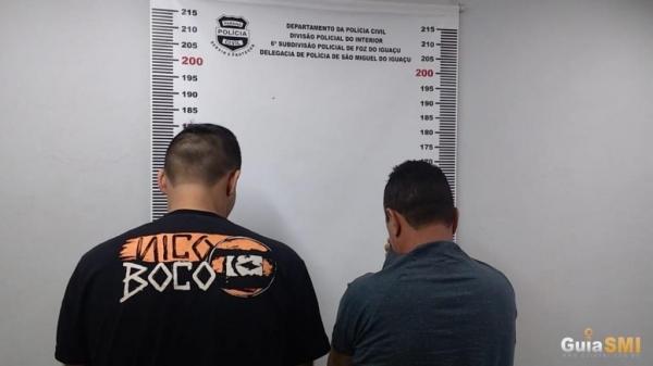 Os dois homens foram presos pela Polícia Civil de São Miguel do Iguaçu nesta terça-feira (09). (Foto: Guia SMI)
